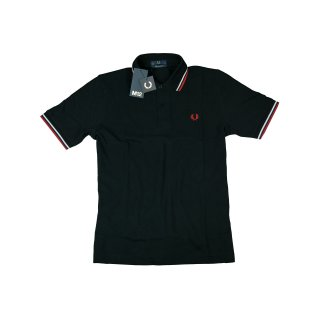 Fred Perry Herren Polo Shirt M12 186 Made In England Schwarz Weiß Rot 5422