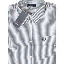 Fred Perry Button Down Langarmhemd M4531 G22 Stripe Twill...