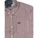 Fred Perry Button Down Kurzarmhemd M6177 924 Rot...