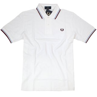 Fred Perry Polo Shirt M12 120 Weiß Hellblau Bordeaux Made in England 5375