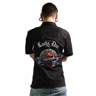 Lucky Dice Bowling   Worker Hemd - Grease Gas Glory - Black