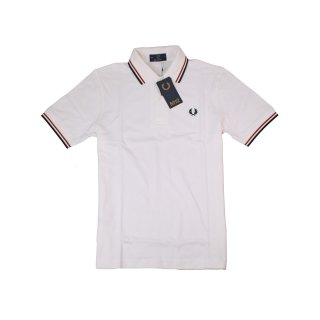 Fred Perry Herren Polo Shirt M12 100 Weiß Rot Navy Piquee Made In England 7363