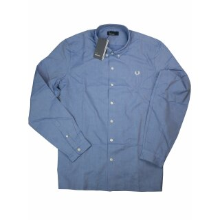 Fred Perry Button-Down Langarmhemd M2546 111 Brushed Oxford Shirt Mid Blue 7226