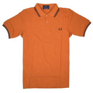 Fred Perry Polo - Shirt M12 448 Orange Schwarz Made in England 5376